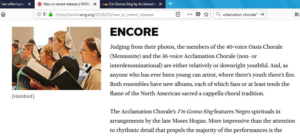 A Cappella Choral Music CDs in World Magazine | Ain't