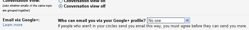 google profile email setting