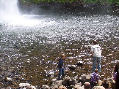 Horsetail Falls, Oregon: Andrew and Trey at the base