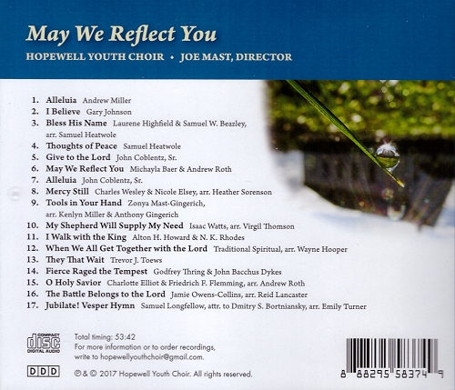 Song list for May We Reflect You CD by Hopewell Youth Choir