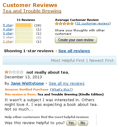 image of one-star review on Amazon