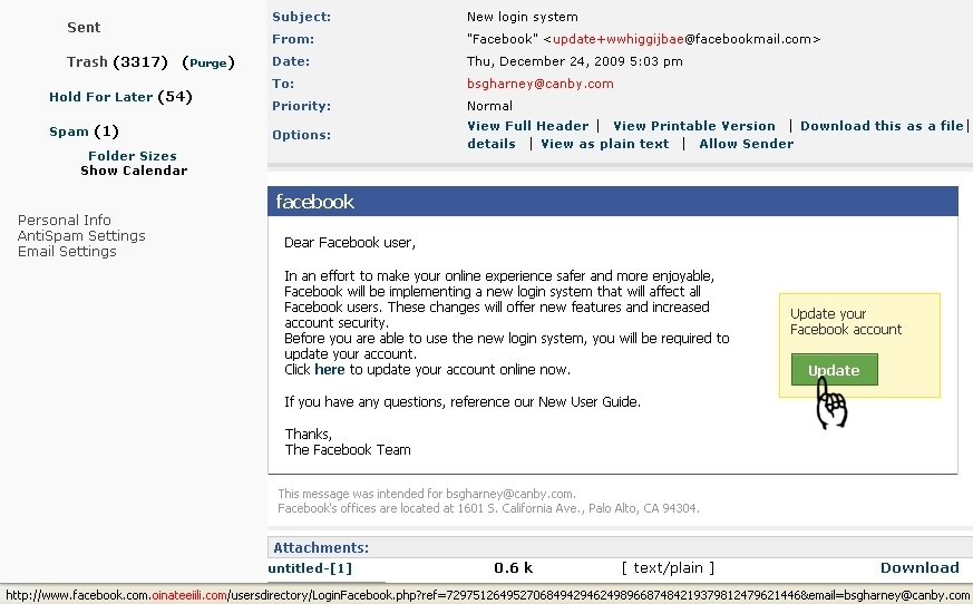 Fake Facebook Email