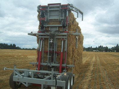 Standing a stack of bales with the Bale Chaser