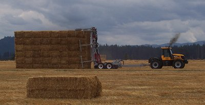 Releasing the bales and going 'throttle up' to pull away