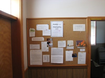 main bulletin board at Hopewell Mennonite Church