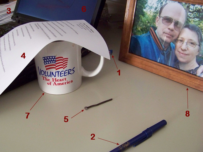 A photo of some stuff on Mark Roth's desk