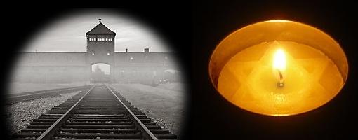 Yom Hashoah candle and entrance to Birkenau extermination camp